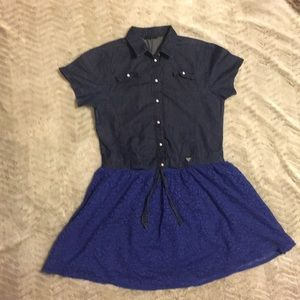 Jean dress with lace skirt